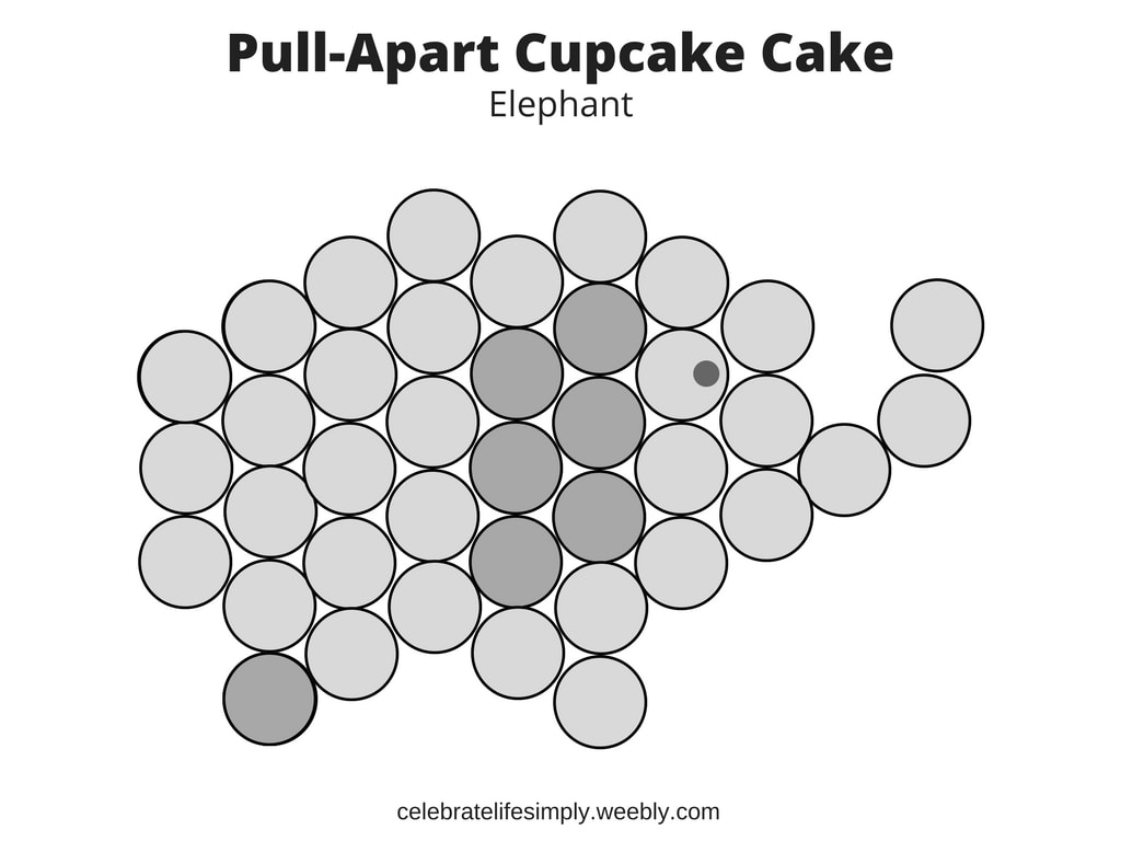 Elephant Pull-Apart Cupcake Cake Template - celebrate life simply