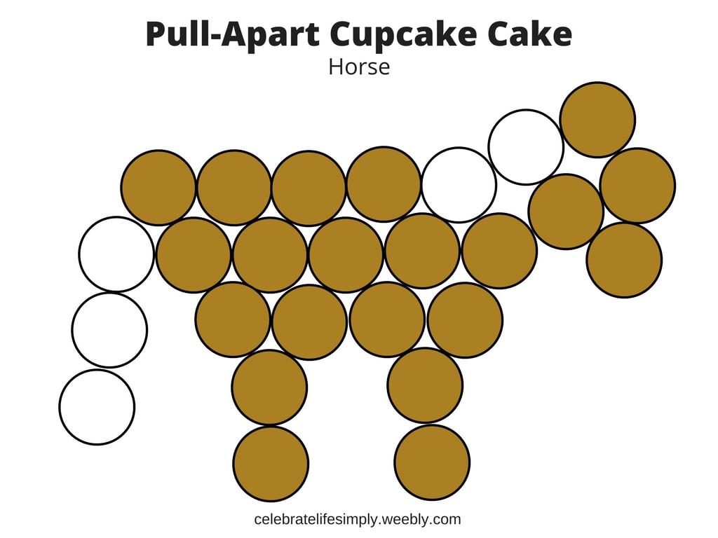 Horse Pull Apart Cupcake Cake Template Celebrate Life Simply