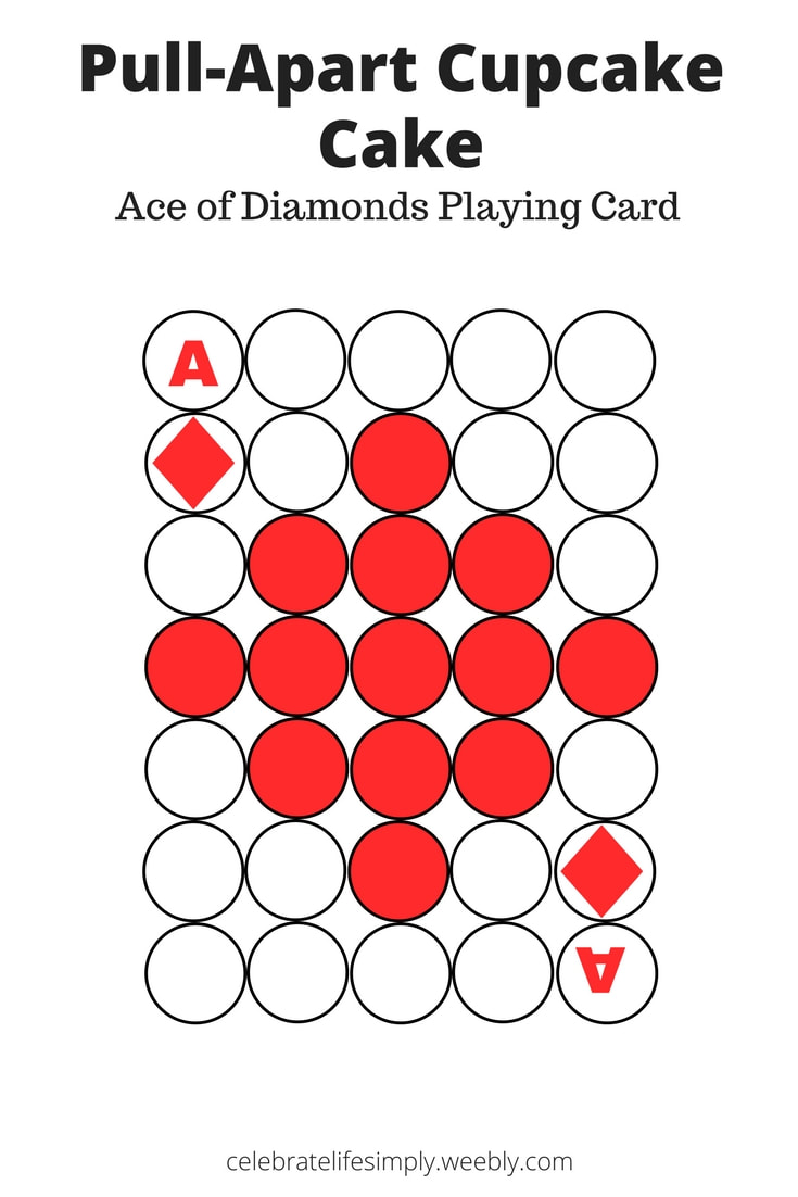 Ace of Diamond Playing Cards Pull-Apart Cupcake Cake Template